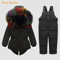 30 Degree winter girls Parkas Down Jackets Coats baby girl boys clothes kids real Fur snow wear ski suit children clothing Sets