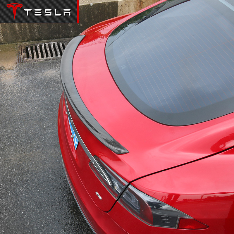 Fit For Tesla Model S 4 Door Sedan 2012 2013 2014 2015 2016 Carbon Fiber Rear Spoiler Tail Trunk Boot Lid Wing Car Accessories smartbuy smartbuy zealot sbe 9310