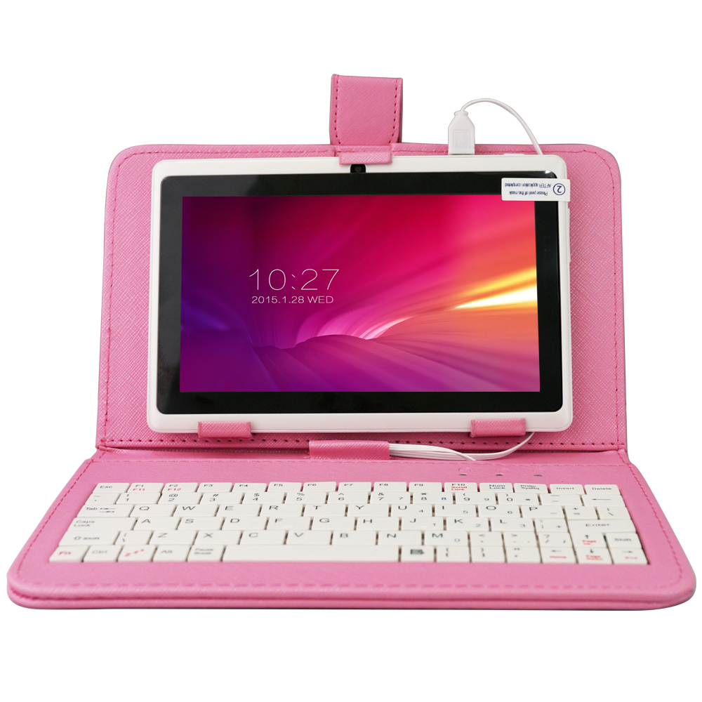 7 A33 Quad Core 1.5GHz 5 Colors Q88 Tablet PC 1024 x 600 Dual Camera 8GB Android Tablet with Keyboard Case(Pink/Purple)
