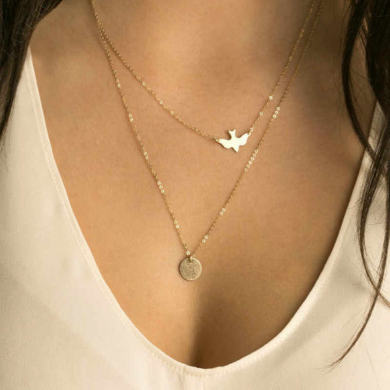 American Jewelry Summer Fashion Lady All-match Double Dove Pendant Necklaces Wholesale Statement Necklace Necklaces & Pendants