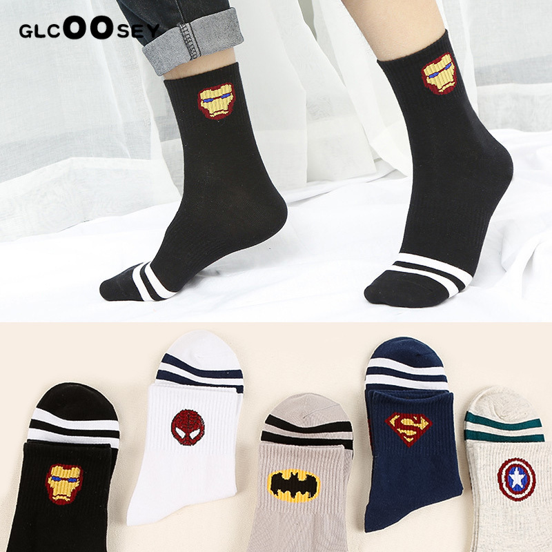 New Marval Comics Heroes General Socks Cartoon Iron Man Captain America High Temperature Stitching Pattern Casual Men's Socks