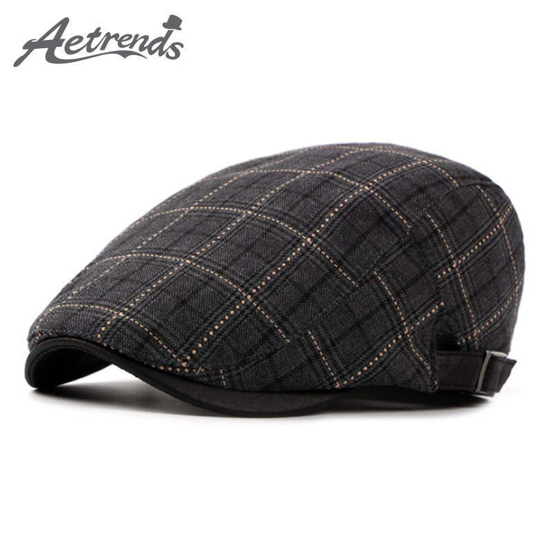 [AETRENDS] Winter Plaid Berets Fashion Hats Herren Baskenmütze Caps Z-5262