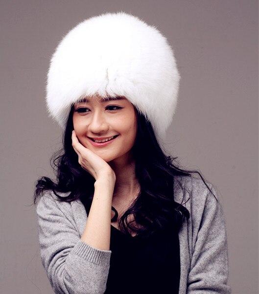 fbee81230da women winter fur hat genuine fox fur hats knitted silver fox fur caps  female russian bomer caps-in Skullies   Beanies from Women s Clothing    Accessories