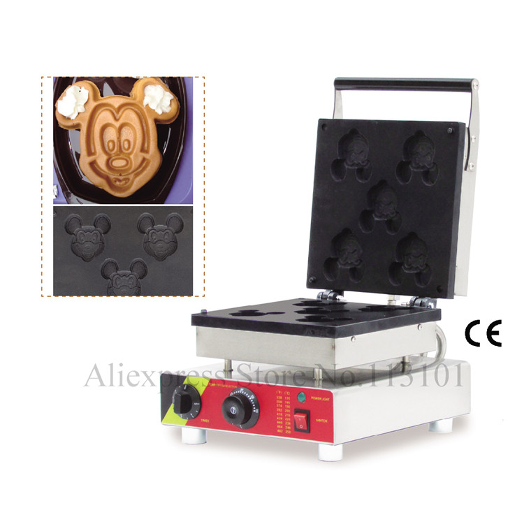 Cartoon Mickey Waffle Machine Durable Stainless Steel Waffle Maker with 5 pcs Waffle Moulds Non stick Cooking Surface