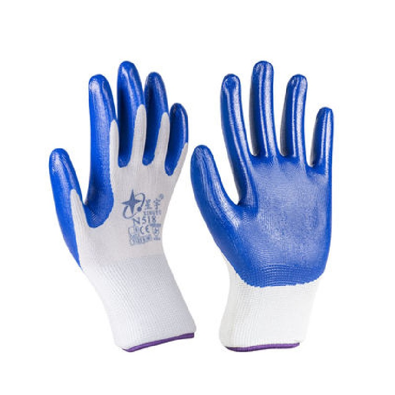 Nitrile Rubber Working Gloves Dipped Protective Gloves Anti-skid Water Oil-proof Wear-resistant Constructions Transport Gloves