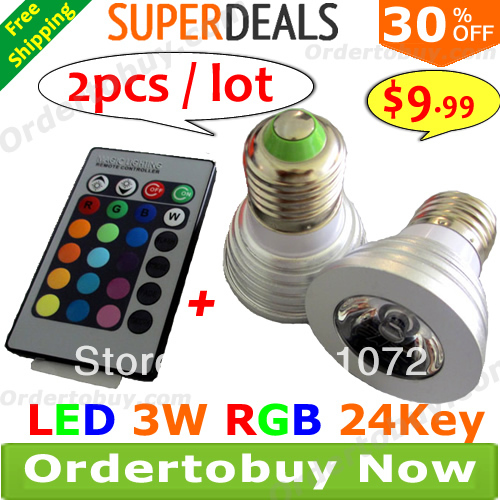 Bright LED 3W RGB Bulb E27 Lamp 85V-265V 110V 240V 16 Colors changing Spotlight + 24 key Remote Controller