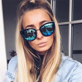 fashion cat mirror sunglasses women  brand designer eye metal frame girl brown Womens Fashion big Gradient