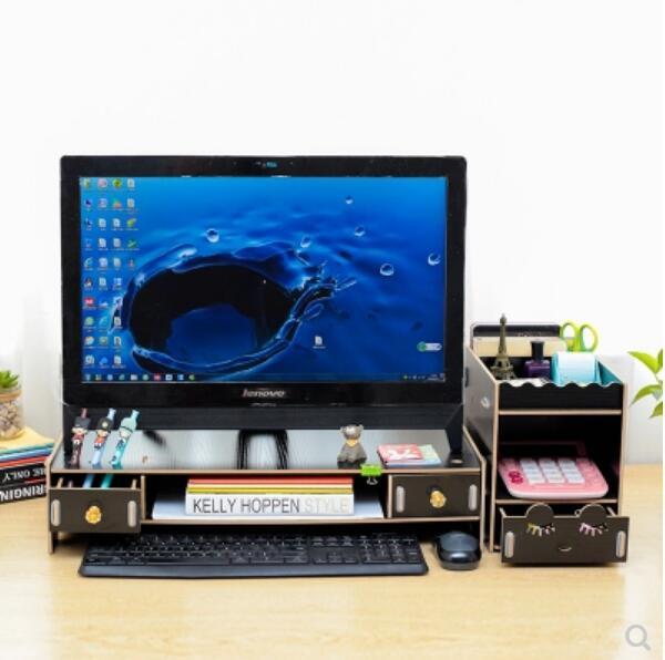 Moniteur d'ordinateur de bureau support d'élévation d'écran support de piédestal support de stockage de bureau