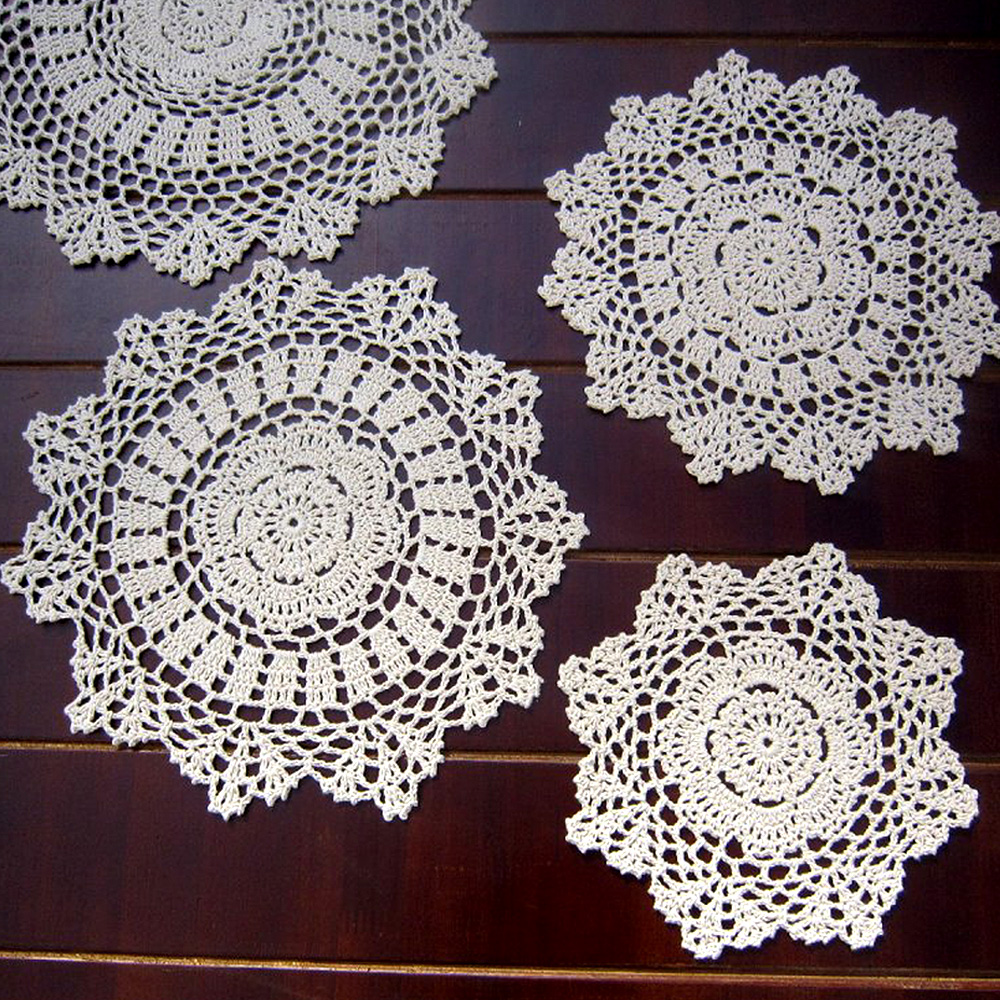 Yazi 4pcs handmade cotton hollow floral placemat round doily pads yazi 4pcs handmade cotton hollow floral placemat round doily pads crochet table mat table cover tablecloths in mats pads from home garden on bankloansurffo Image collections