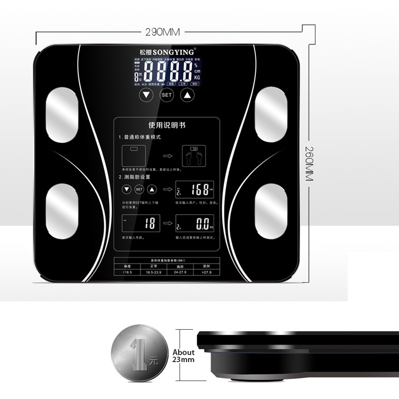 Hot Bathroom Body Fat bmi Scale Digital Human Weight 1