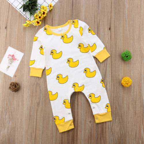 513fb12d220e Newborn Baby Boy Girl Yellow Duck Cotton Romper Long Sleeve Rompers ...