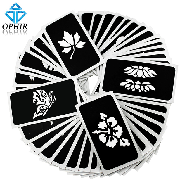 OPHIR 50 PCS Airbrush Stencils (5 series) for Body Painting Glitter Temporary Tattoo Tattoo Henna Template Sheets _TA032(A-E)