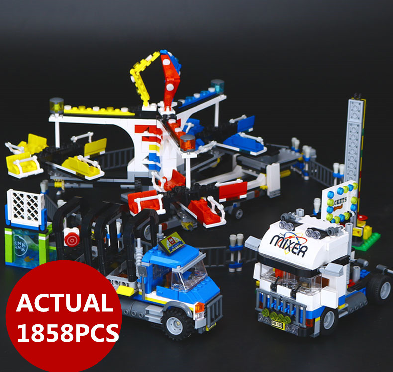 1858pcs Lepin 15014 Genuine Street Series The Amusement Park Giant Stride Carnival Set 10244 Building Blocks Bricks Toy gifts the unhappy giant level 3