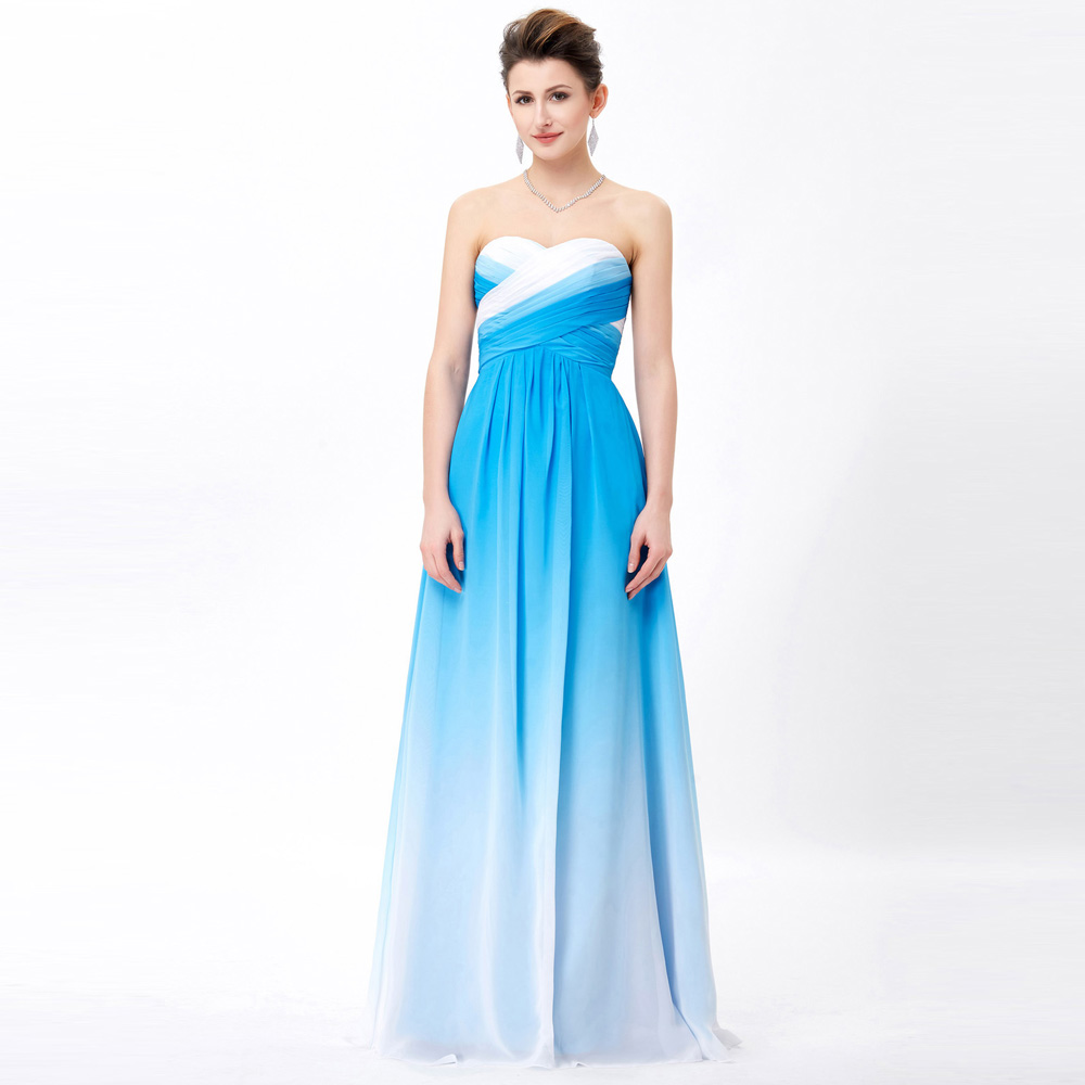 Grace Karin Long Prom Dresses Chiffon Elegant Wedding Formal Party Gowns Pink Green Blue Ombre Prom Dresses For Special Occasion