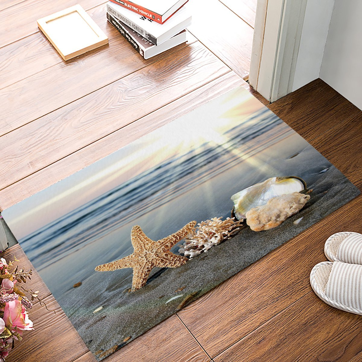 Beach Themed Doormats Rugs Starfish Shells Non Slip Indoor