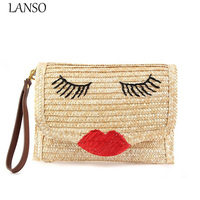 LANSO Red Lips Straw Handmade Bag Lady Woven Straw Message Bag Flap Chain Shoulder Bag Handbag Woman Beach Bag Day Clutch Purse