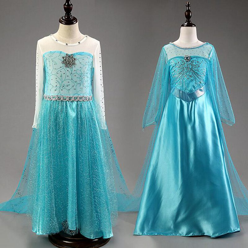 цены Blue Baby Princess Dress Kids Dresses For Girls Clothes Children Clothing Reine Des Neiges Vestidos Roupas Infantis Menina