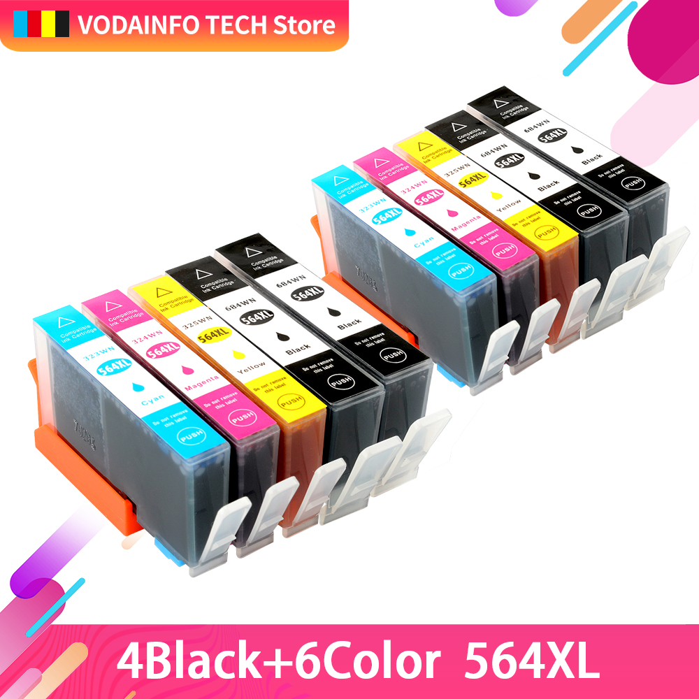 QSYRAINBOW 10pcs Ink Cartridg For HP <font><b>564</b></font> <font><b>XL</b></font> Refillable Ink Cartridge For HP Deskjet 3070A 3520 3522 Officejet Printer image
