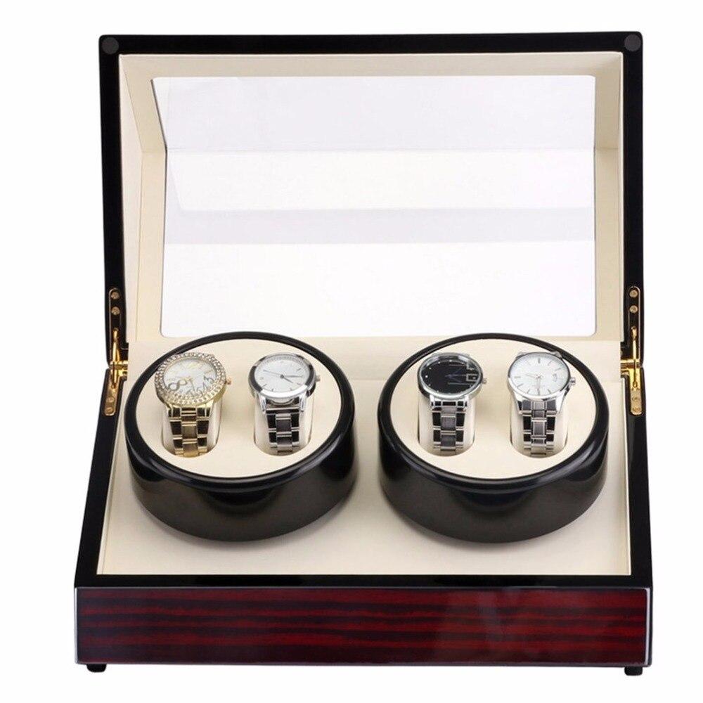 Rouge en bois 2 grille moteur Shaker montre enrouleur piano brillant support de montre affichage automatique mécanique montre remontoir bijoux montre