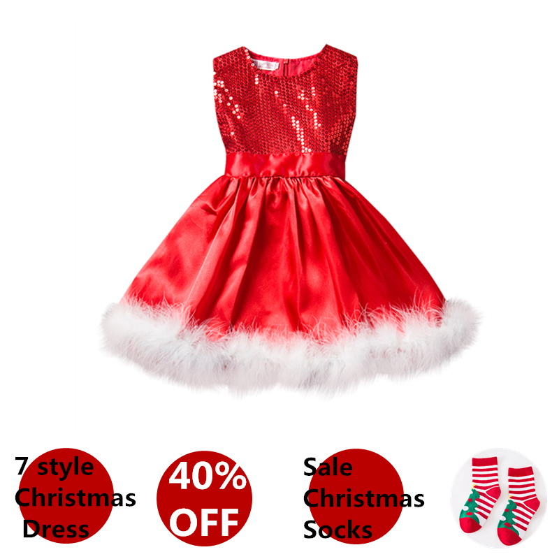 Baby Girls Kids Christmas Party Red Dress Children New Year Dresses For Girl 2 6T Winter Clothing Costume Roupas Infantis Menina 3 12y girls clothes girl dress purple blue red dress princess sress roupas infantis menina flower girls sequined dresses yaa041