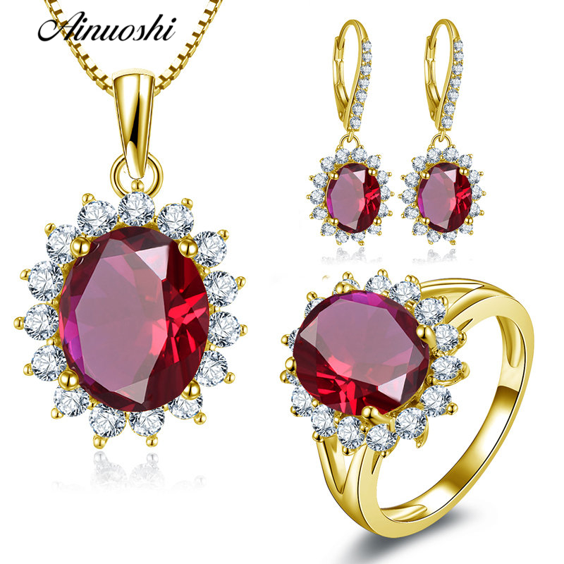 AINUOSHI 10K Solid Yellow Gold Jewelry Set Oval Cut Red Pendant Halo Ring Drop Earrings Luxurious Wedding Women Jewelry Set Gift