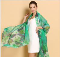 250*108cm 2017 new women silk scarfs plus size floral printed green high quality silk shawls pashminas fashion brand silk wraps