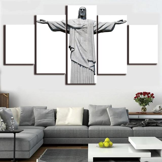 5 Pcs/Set HD Printed Framed Brazil Jesus Religion Christ Modern Home ...