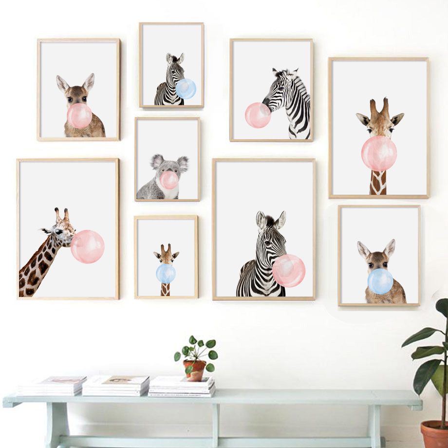 Cartoon Zebra Giraffe Koala Balloon Nordic Posters And Prints Wall Art Canvas Painting Animal Wall Pictures Baby Kids Room Decor