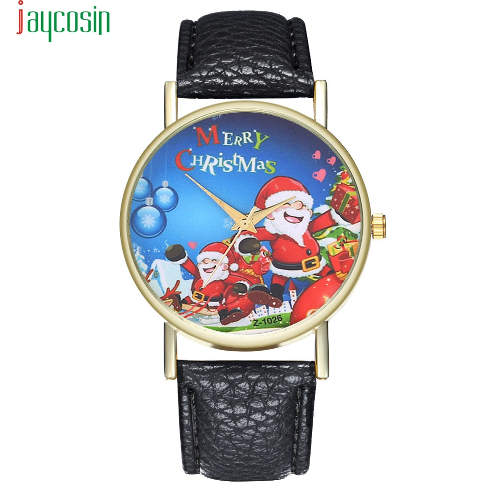 JAYCOSIN Black Santa Claus Watches Best Sale PU Leather Stylish Quartz Watches Snoman Deer Santa Claus Quartz Watch SE0805
