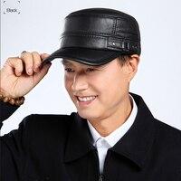 Svadilfari 2018 High Quality Genuine Leather Flat Peak Military Hats for Women Men's Caps Autumn Winter Warm Caps Artists Hats