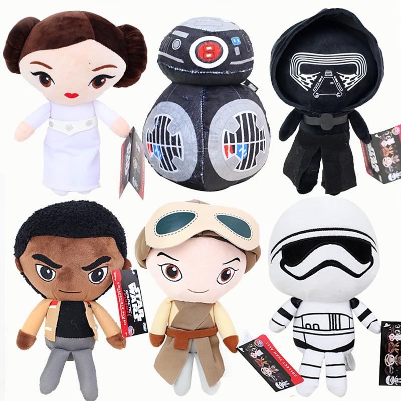 6pcs/lot 20cm Star Wars: The Last Jedi Rey Finn Princess Leia Stuffed&Animals Plush Doll Toys For Baby Kids Gifts