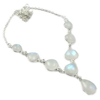 Genunie Rainbow Moonstone Necklace 925 Sterling Silver, 46 cm, MHBNE0133