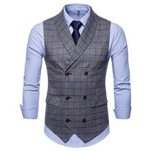Ffxzsj мужской костюм жилет 2018 двубортный Приталенный деловой