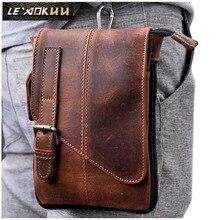 Heißer Verkauf Top Qualität Echte echtem Leder männer vintage Braun Kleine Crossbody Gürtel Hüfttasche Tasche 611-1
