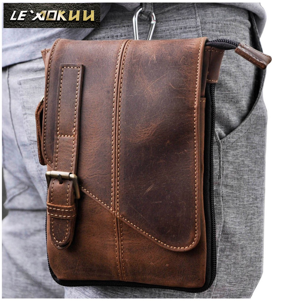 Real Leather Men Casual Design Multifunction Small Messenger Crossbody Bag One Shoulder Bag Fashion Waist Belt Pack Bag 611-1