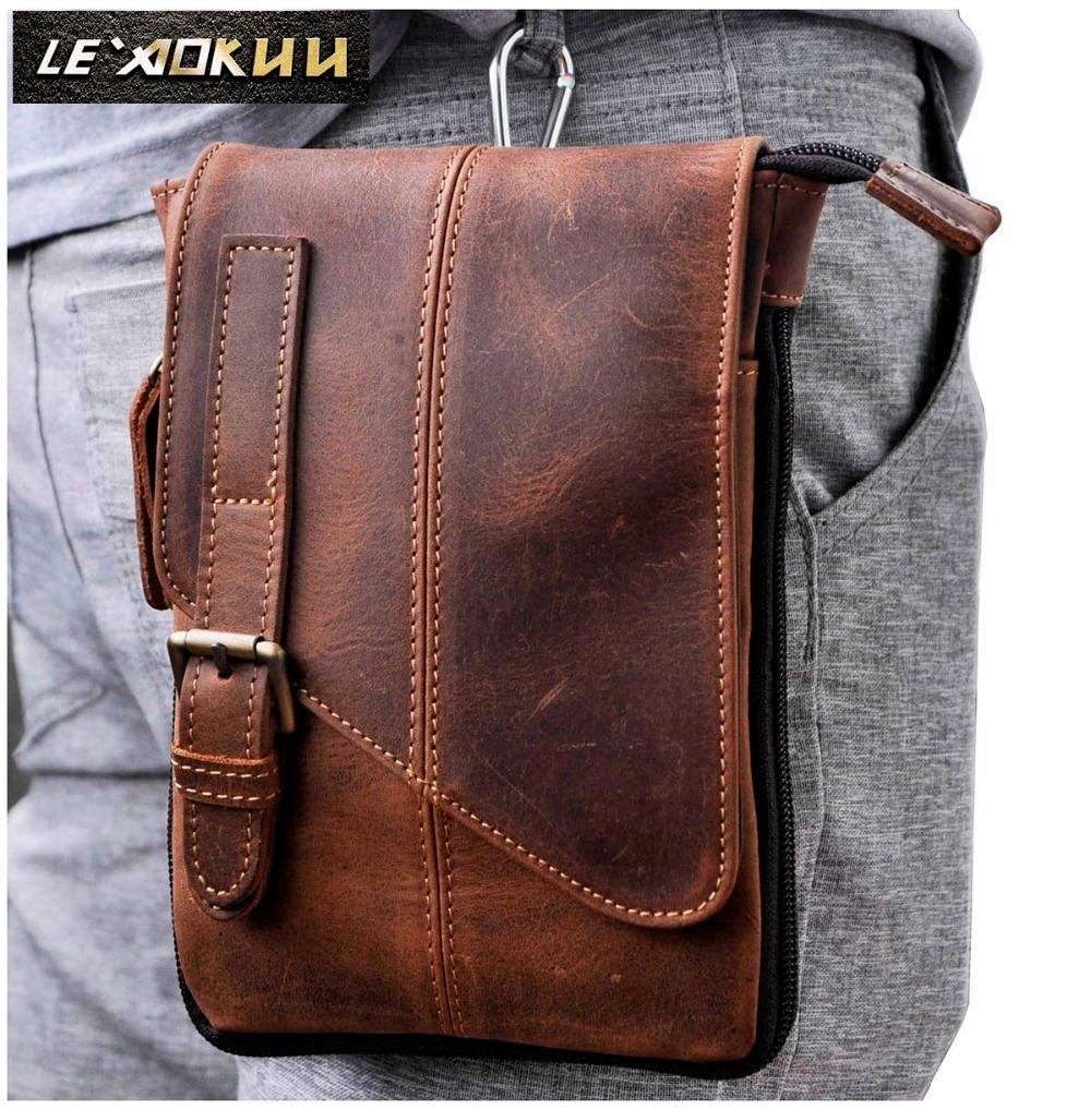 Real Leather Men Casual Design Multifunction Small Messenger Crossbody Bag One Shoulder Bag Fashion Waist Belt Pack Bag 611-1