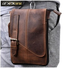 New Top Quality Genuine Real Leather men vintage Brown Small Sport Outdoor Crossbody Tactical Belt Bag Waist Pack Drop Bag 611-1