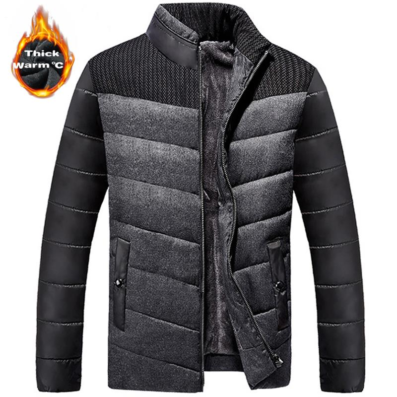2018 Winter Men's Down Cotton Jacket Fleece Thick Thermal Patchwork Coats Casual Stand Collar Warm Parka Jackets Male Wholesale