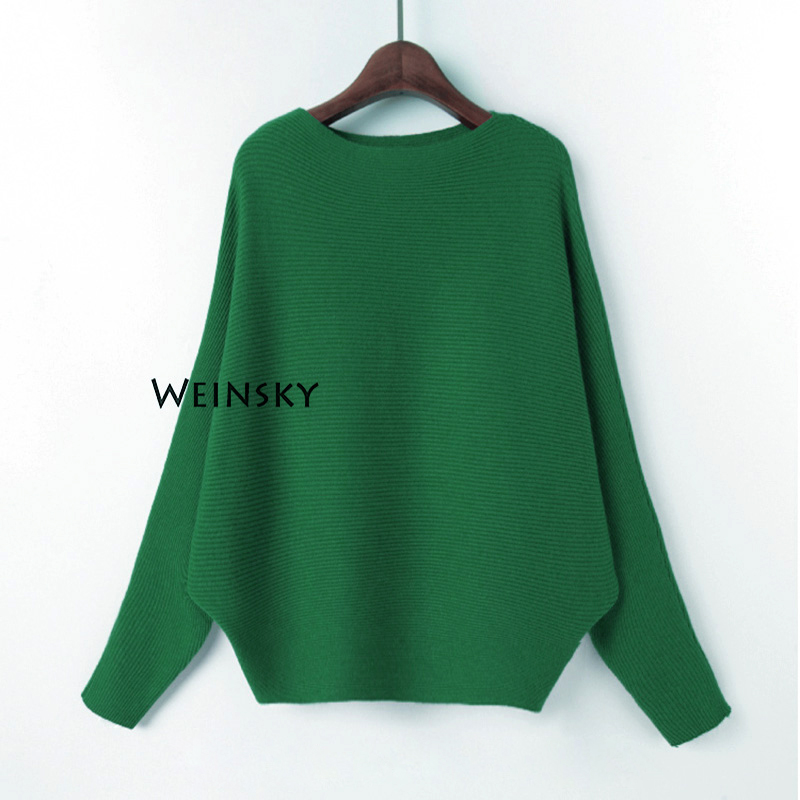 Weinsky Women Knitted Sweaters And Pullovers Ladies Autumn And Winter 2019 Fashion Korean Style Batwing Sleeve Pink Sweaters