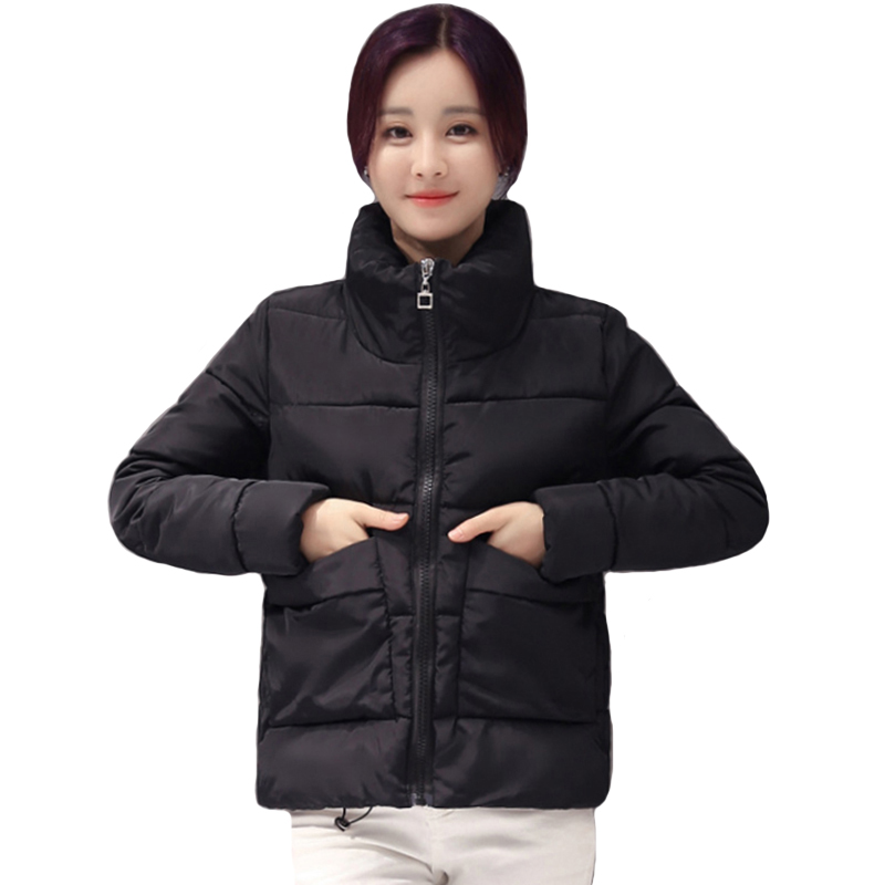 2019 Women Winter Jacket Stand Collar Sweet Short Female Coat Candy Color Outwear Basic Jacket Coat Chaqueta Mujer