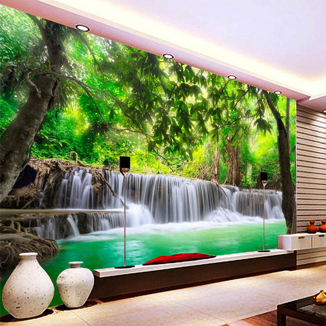 HD Forest River Waterfall Backdrop Decorative Wall Painting 3D Stereo Straw Texture Mural Living Room Dining
