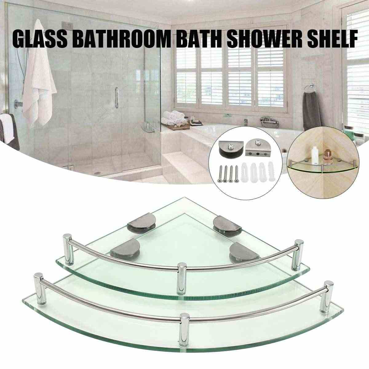 New 2 Size Bathroom Glass Triangular Wall Mount Corner Shelf Rack Storage Holder Bathroom Product Toothbrush Toothpaste Brasket