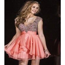 Gorgeous Kristallen Short Prom Kleider 2016 Perlen Backless Chiffon-Party Abendkleid für Graduation