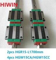 2 шт. 100% Оригинал Hiwin Линейные направляющей HGR15 L 1700 мм + 4 шт. HGW15CA HGW15CC линейных фланцевые блок перевозки для ЧПУ