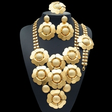 Free shipping 24K Dubai Gold Plated Copper Flower Designer Delicate big African jewelry sets