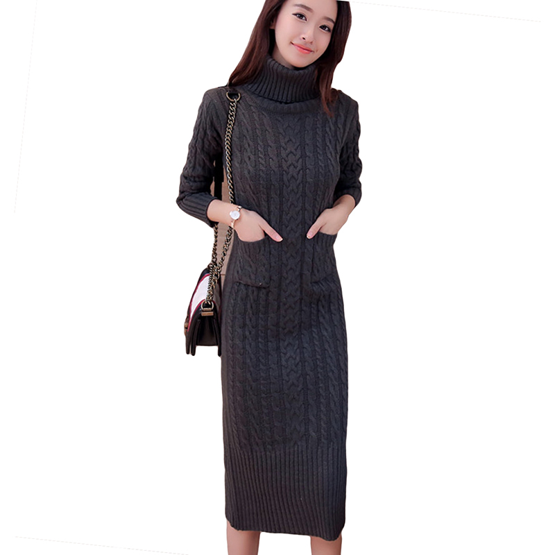 Autumn Winter Women Sweater Dress Plus Size Turtleneck Long Sleeve Knitted Dress Black Gray Casual Warm Knitted Dress YP0588