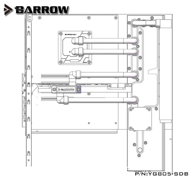 Купить с кэшбэком Barrow Acrylic Board as Water Channel use for IN WIN 805/805C Computer Case use for Both CPU and GPU Block RGB Light to AURA