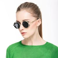 Gothic Steampunk Sunglasses Street Fashion Round Frame Women Men Gift Retro Clear Lens High Quality New