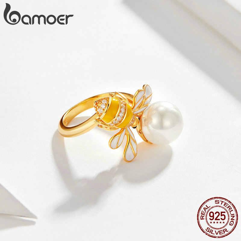 BAMOER Подлинная стерлингового серебра 925 пробы серебрный пресноводный жемчуг и пчела золотого цвета женские кольца на палец для женщин Свадебные украшения BSR017