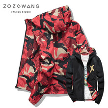 Men Jacket Coats Male Causal Hooded Camouflage Thin Double-sided Outwear Spring Autumn Bomber Jackets plus size S-4XL